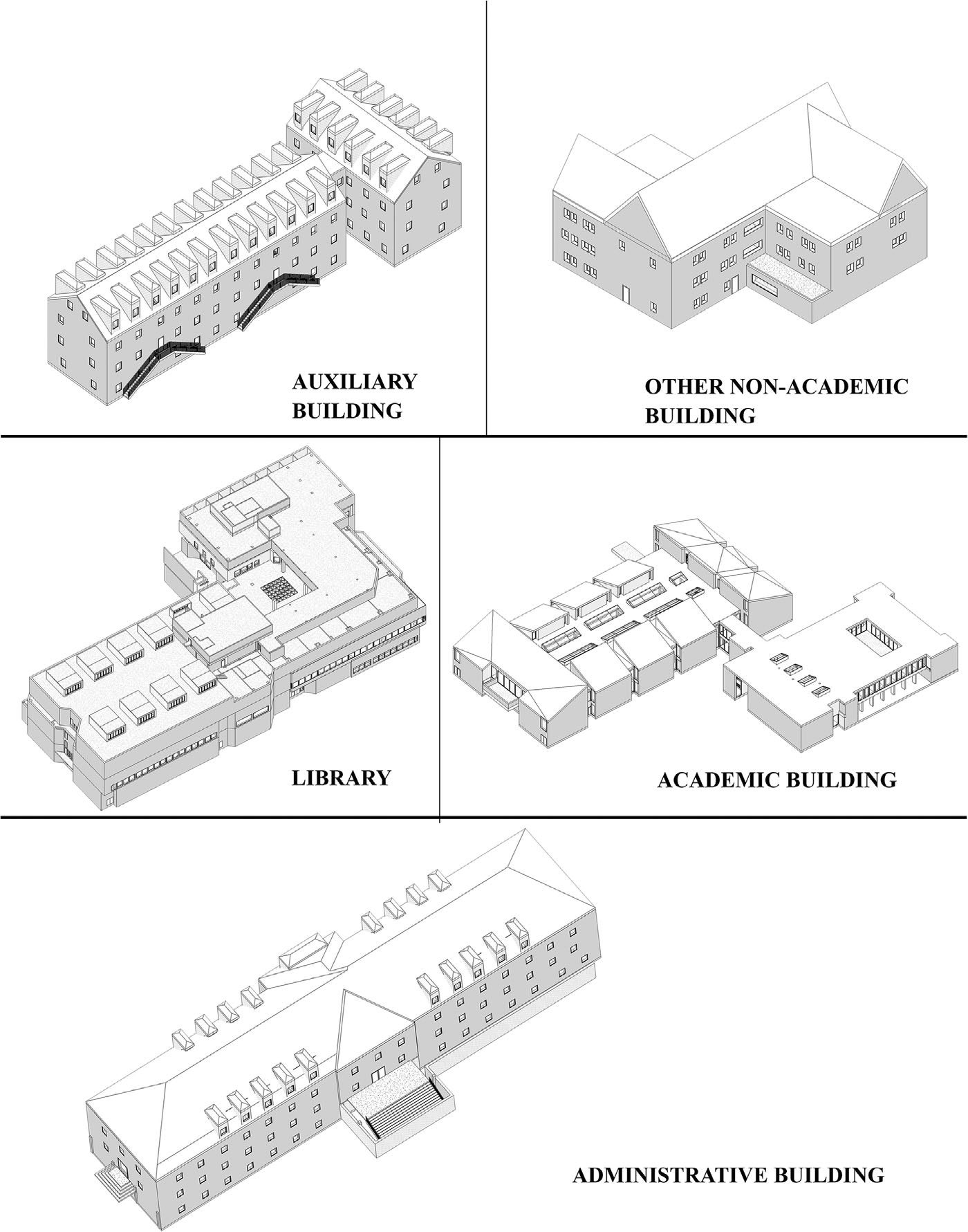 Prototype buildings (Autodesk Revit models) from original construction documents archived by the campus facility management office.