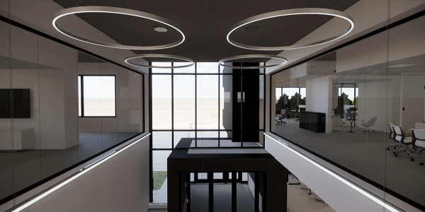Green Building rendering with overhead circular lights.
