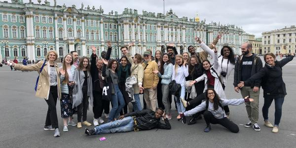 Students group photo in St. Petersburg, Russia