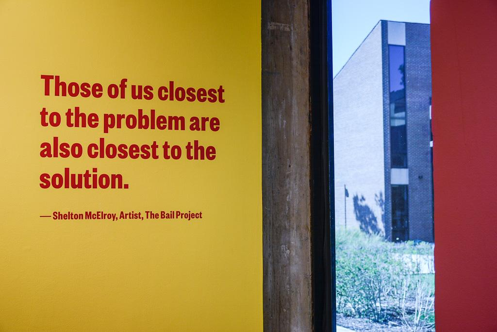 Quote on yellow wall at the Kibel Gallery.