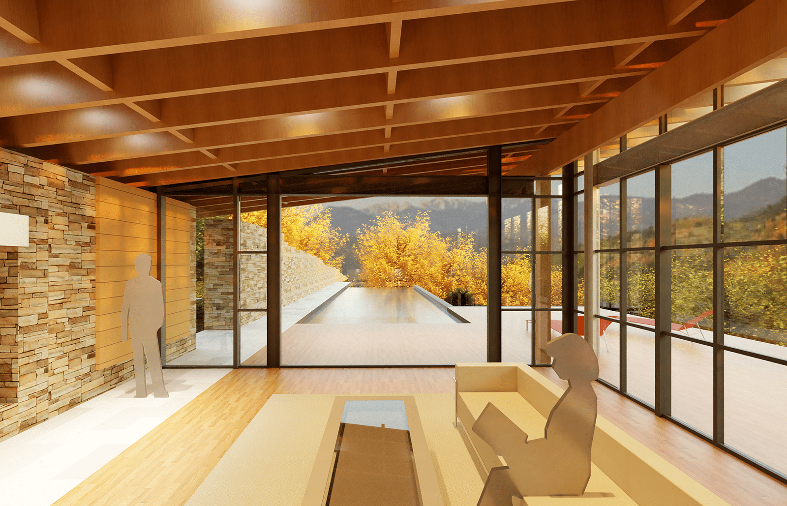 Rendering of Bohlin Cywinski Jackson's Halls Ridge Knoll Guest House