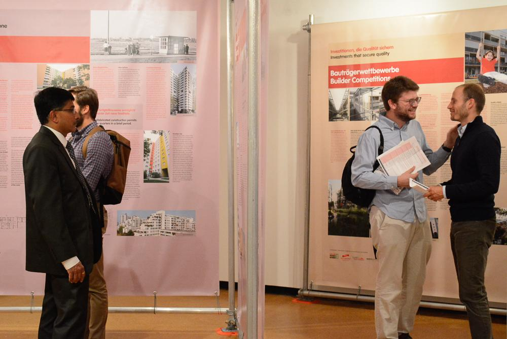 People at the Municipality is Building. Vienna Residential Construction exhibit opening
