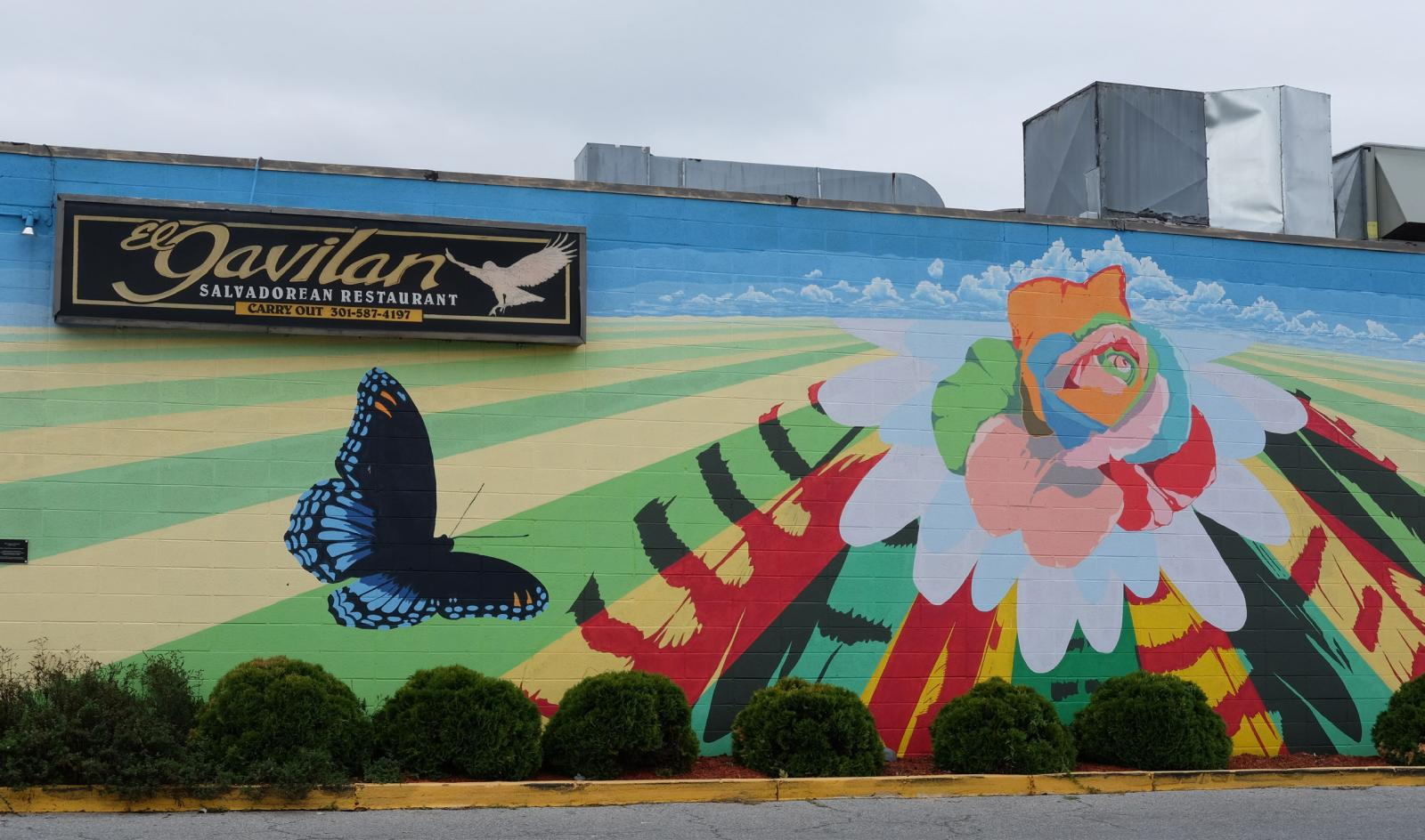 Flower and butterfly wall painting on the side of a building. Credit: A Long Life for Long Branch